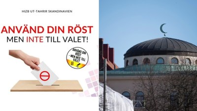 Left: Screenshot of Hizb ut-Tahrir's campaign material. Right: The Stockholm Mosque