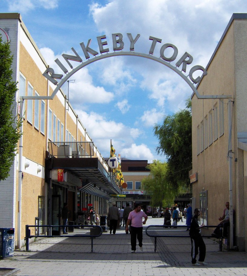 The entrance to Rinkeby square.